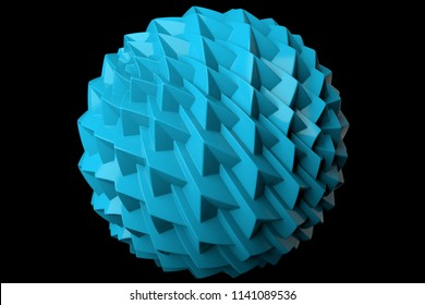 3d render plastic isolated  sphere. Displacement surface. Random patterns extruded from the plastic sphere shape.
