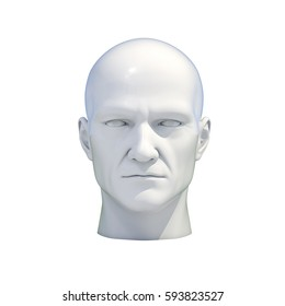 3d Render: Plastic Man, Mannequin Dummy Head Isolated on a White Background