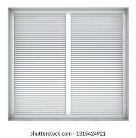 3d render of plastic window frame with external blinds isolated on white background
