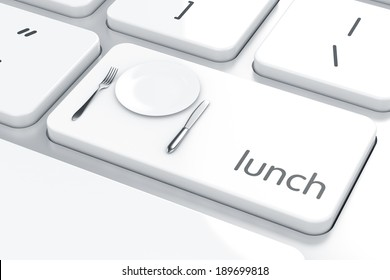 3d render of plate, fork and knife icon on the keyboard. Lunch concept