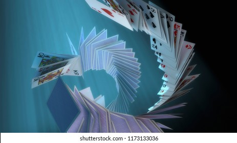 3d render Poker cards falling