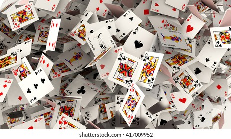 3d render. Poker cards falling