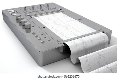 A 3D render of a polygraph lie detector machine drawing red lines on graph paper