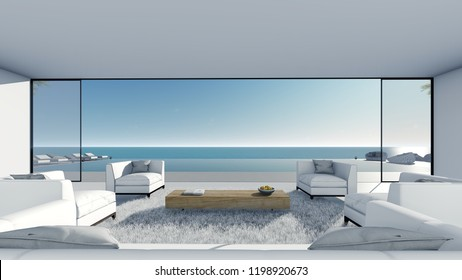 3d render Pool living terrace modern sea view center view