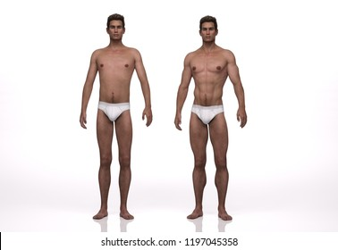 3D Render : the portrait of  ectomorph (skinny) male  and mesomorph (muscular) male compare to each other