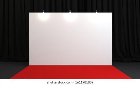 3d render press wall on red carpet. Empty banner backdrop. 3d render illustration.