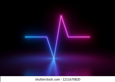 3d render, pulse symbol, neon light, impulse, chart, ultraviolet spectrum, quantum energy, pink blue violet glowing dynamic line, abstract background
