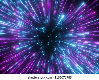 3d render, purple fireworks, big bang, galaxy, abstract cosmic background, celestial, beauty of universe, speed of light, neon glow, glowing stars, cosmos, ultraviolet infrared light, outer space