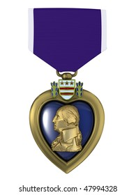 3d render Purple heart medal