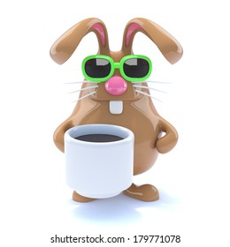3d render of a rabbit with a cup of tea
