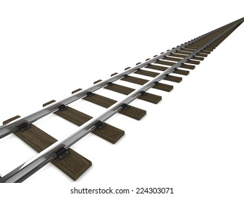3d render of railway tracks