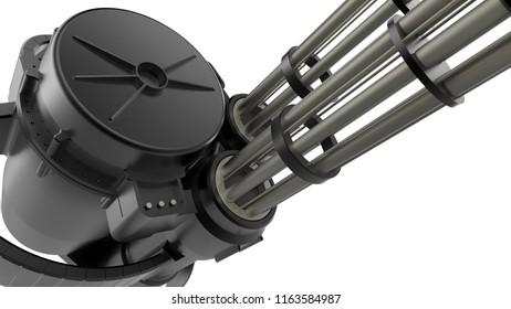 3D render of a rapid-fire machine gun
