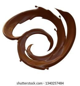 3d render. Realistic chocolate (cocoa, cream) splashes swirl isolated on white background. Chocolat splashes clip art.