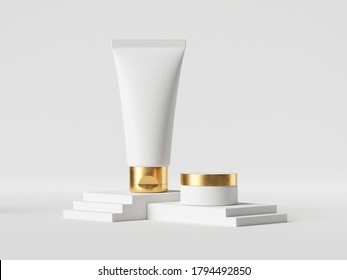 3d render realistic cosmetic concept, beauty product showcase. Makeup bottles. White cream tube and jar with golden cap isolated on white background. Clean style, blank mockup