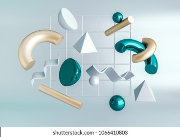 3d render realistic primitives composition. Flying shapes in motion isolated on blue background. Abstract theme for trendy designs. Spheres, torus, tubes, cones in metallic turquoise and gold colors.