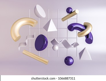 3d render realistic primitives composition. Flying shapes in motion isolated on purple background. Abstract theme for trendy designs. Spheres, torus, tubes, cones in metallic gold and violet colors.