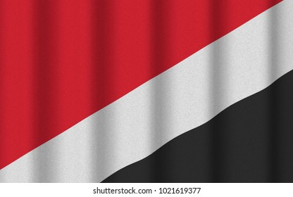 3D render with realistic texture and lighting of the flag of Sealand (micronation)