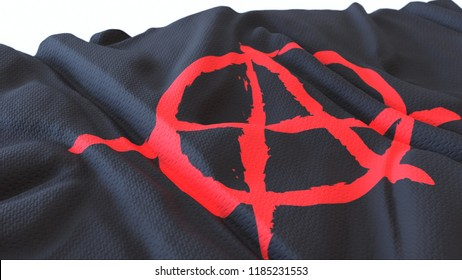 3d render, Realistic Wavy Flag of Anarchist