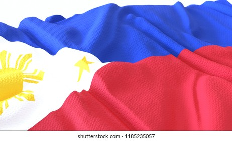 3d render, Realistic Wavy Flag of philipines
