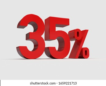 3d Render: Red 35% Percent Discount 3d Sign on Light Background, Special Offer 35% Discount Tag, Sale Up to 35 Percent Off, Thirty-five Percent Letters Sale Symbol, Special Offer Label, Sticker, Tag