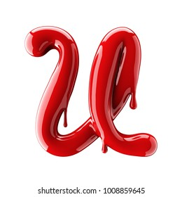 3D render of red alphabet make from nail polish. Handwritten cursive letter U. Isolated on white background