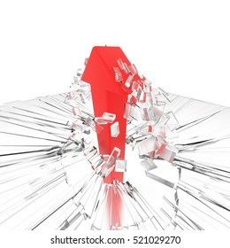 a 3D render of a red arrow breaking a glass ceiling