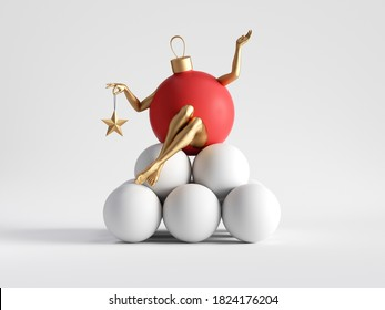 3d render. Red ball ornament, Christmas cartoon character with golden mannequin legs sits on pile of white balls. Minimal seasonal clip art isolated on white background. Unique toy