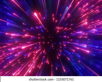 3d render, red blue fireworks, big bang, galaxy, abstract cosmic background, celestial, beauty of universe, speed of light, eon glow, purple stars, cosmos, ultraviolet infrared light, outer space