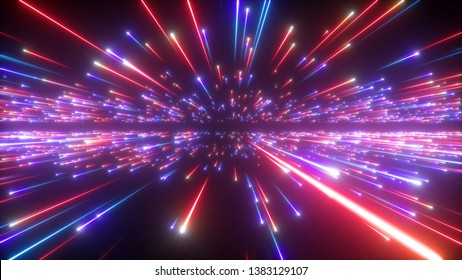 3d render, red blue fireworks, abstract cosmic background, big bang, galaxy, falling stars, celestial, beauty of universe, speed of light, neon glow, cosmos, ultraviolet infrared light, outer space