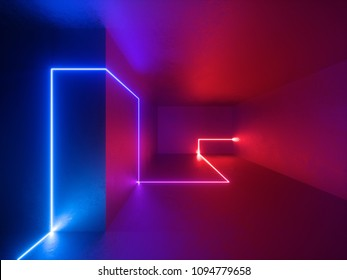 3d render, red blue neon lights indoor, virtual reality, glowing lines, abstract psychedelic background, vibrant colors
