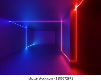 3d render, red blue neon lights indoor, virtual reality, glowing lines, room, abstract psychedelic background, vibrant colors