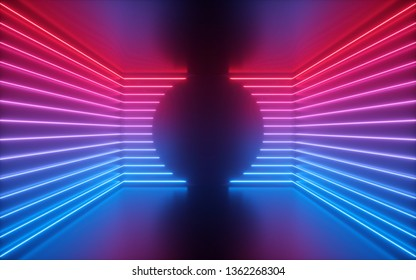 3d render, red blue neon lines, round shape inside empty room, virtual space, ultraviolet light, 80's style, retro disco club interior, fashion show stage, abstract background