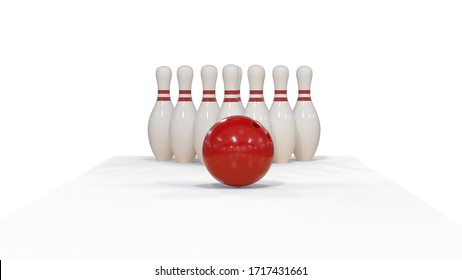 3d render Red bowling ball on a white background with pins
