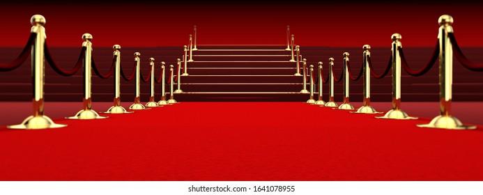 3D Render Red Carpet Stage Background