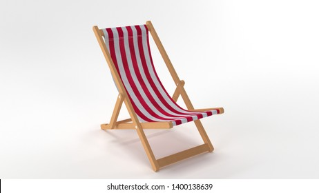 3D Render Red Deck Chair on White Background