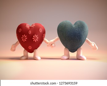 3D render of red female and blue male heart couple figures holding hands - valentines concept