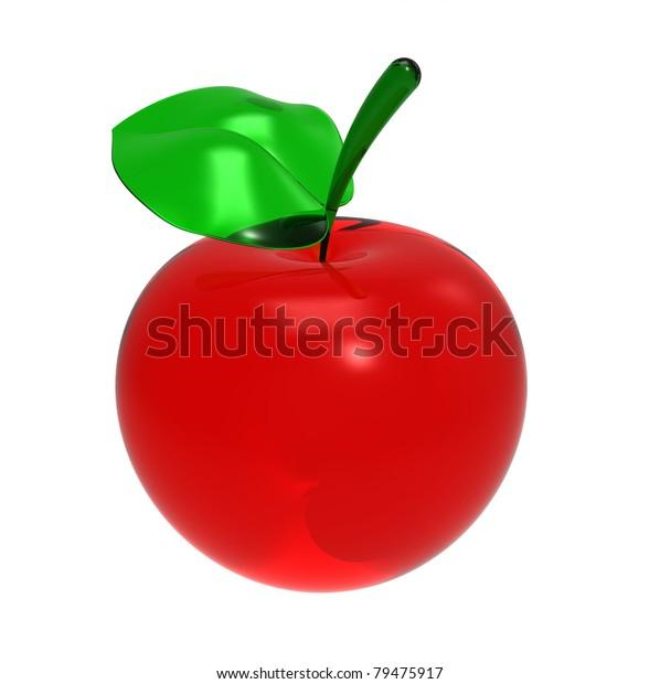 3d Render Red Glass Apple Leaflet Stock Image Download Now