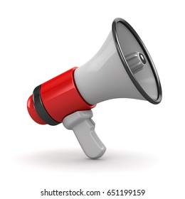 3d Render of Red Megaphone , This is a 3d Rendered Computer Generated Image. Isolated on White.