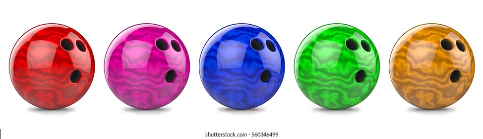 3d render red, purple, blue, green, yellow, bowling ball. Isolated on white background.