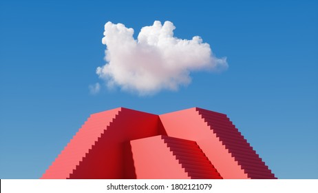3d render, red pyramid pedestal with stairs under the blue sky with white clouds. Abstract fantasy cloudscape on a sunny day. Minimal surreal dream concept