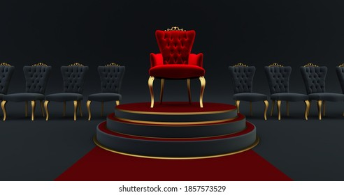 3D render of Red royal chair  on a pedestal. Red carpet leading to the luxurious throne, Place for the king. Royal throne,