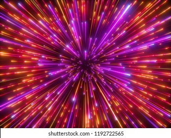 3d render, red sparkling fireworks, big bang, galaxy, abstract cosmic background, falling stars, celestial cosmos, beauty of universe, speed of light, neon infrared light, outer space, glow