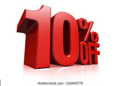 3D render red text 10 percent off on white background with reflection.