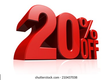 3D render red text 20 percent off on white background with reflection.