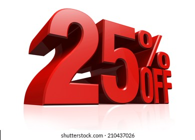 3D render red text 25 percent off on white background with reflection.
