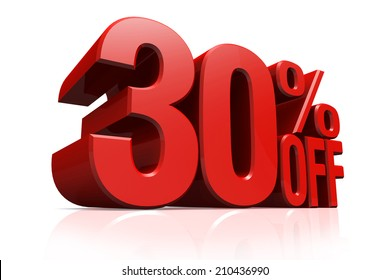 3D render red text 30 percent off on white background with reflection.