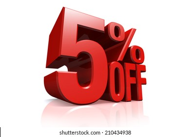 3D render red text 5 percent off on white background with reflection.