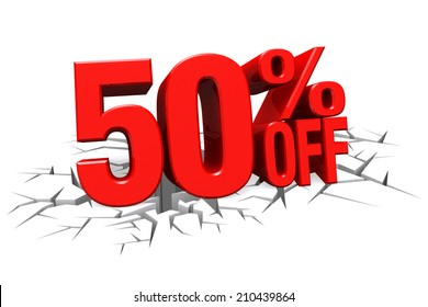 3D render red text 50 percent off on white crack hole background with reflection.