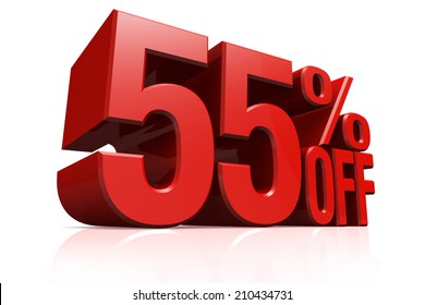 3D render red text 55 percent off on white background with reflection.