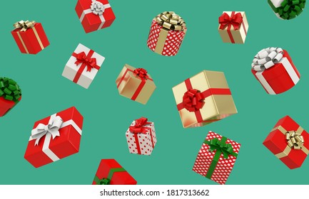 3d render of red, white, gold Gift boxes and dot pattern with Ribbons floating on green background. Christmas and New Year concept.